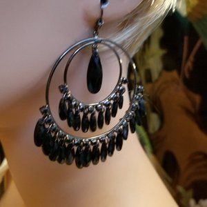 Black Beaded Chandelier Style Pierced Earrings